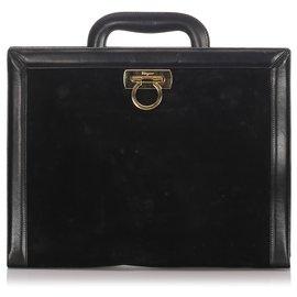 Salvatore Ferragamo-Sac d'affaires Ferragamo en velours noir-Noir