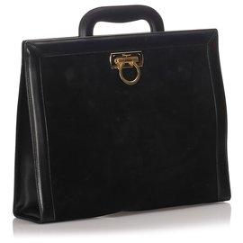 Salvatore Ferragamo-Ferragamo Black Velvet Business Bag-Black