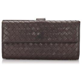 Bottega Veneta-Bottega Veneta Black Intrecciato calf leather Long Wallet-Black