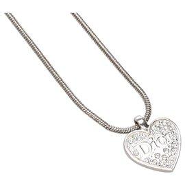 Dior-Dior Silver Heart Pendant Necklace-Silvery