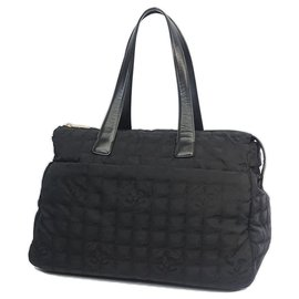 Chanel-Chanel Black New Travel Line Canvas Large Bag-Noir
