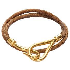 Hermès-Hermes Brown Leather Jumbo Hook Bracelet-Brown