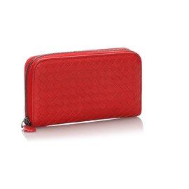 Bottega Veneta-Bottega Veneta Red Intrecciato calf leather Zip Around Wallet-Red