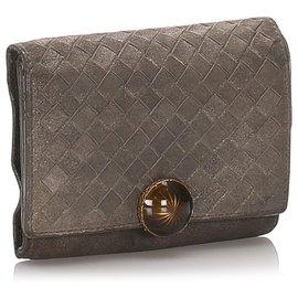 Bottega Veneta-Bottega Veneta Brown Intrecciato calf leather Tri-Fold Wallet-Brown