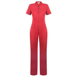 Chanel-cool denim jumpsuit-Red