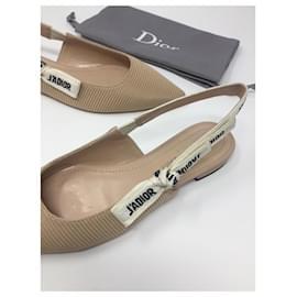 Dior-BALLERINE DIOR J'ADIOR EN TOILE TECHNIQUE BEIGE NU-Beige