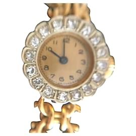 No Brand-Vintage gold and diamond watch-Golden