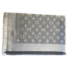 Louis Vuitton-Louis Vuitton Denim gray shawl-Grey