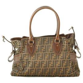 Fendi-Fendi Zucca Nylon Leather Tote Bag-Brown