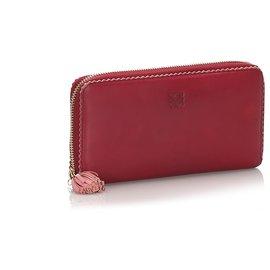 Loewe-Loewe Red Leather Amazona Long Wallet-Red