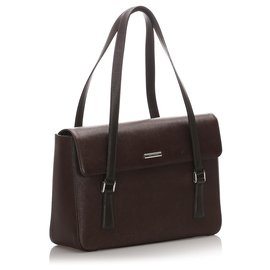 Burberry-Burberry Brown Leather Tote Bag-Brown,Black