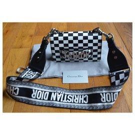 Dior-DIOR Calfskin Checkered J'Adior Chain Flap Bag White Black-Noir,Argenté,Blanc