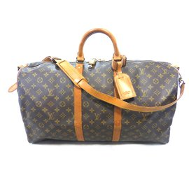 Louis Vuitton-keepall 55 monogram shoulder strap-Brown