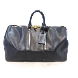 Louis Vuitton-KEEPALL 45 CUIR EPI NOIR-Noir