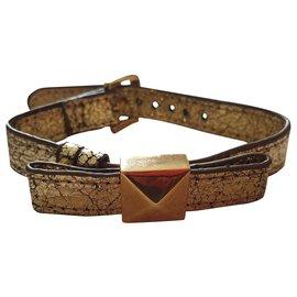 Kate Spade-gold leather bracelet-Golden