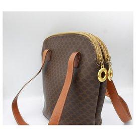 Céline-Vintage Celine Tote handbag in Macadam canvas-Brown