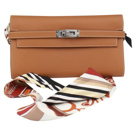 Hermès-Hermès Kelly wallet in brown leather and its twilly-Brown