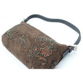 Fendi-Fendi Baguette handbag in velvet and embroidery-Brown