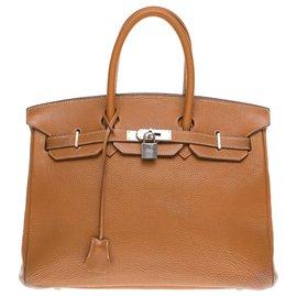 Hermès-Hermès Birkin 35 en cuir Togo Gold, garniture en métal en argent palladié-Doré