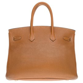 Hermès-HERMES BIRKIN 35 Togo Gold leather, metal hardware in palladium silver-Golden