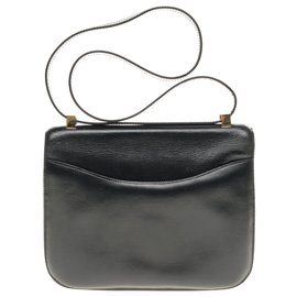 Hermès-Hermes Constance 23 black box leather, gold-plated metal trim in very good condition-Black