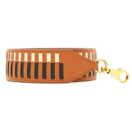 Hermès-LEATHER BRAIDING STRAP 40 MM-Black,Cream,Caramel