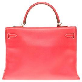 "Hermès-hermes kelly 35 two-color shoulder strap ""Candy"" limited edition in Rose Jaïpur and gold epsom leather, gold plated metal trim-Pink,Golden"