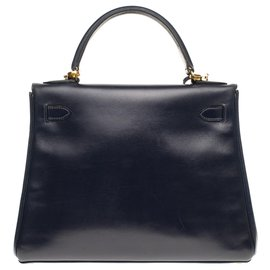 Hermès-Hermès Kelly 28 bandoulière en cuir box bleu marine, garniture en métal plaqué or-Bleu Marine