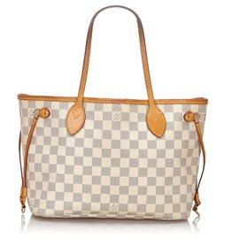 Louis Vuitton-Louis Vuitton White Damier Azur Neverfull PM-White,Blue,Cream