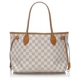 Louis Vuitton-Louis Vuitton White Damier Azur Neverfull PM-White,Blue