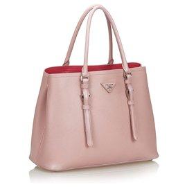 Prada-Prada Pink Saffiano lined Cuir Satchel-Pink