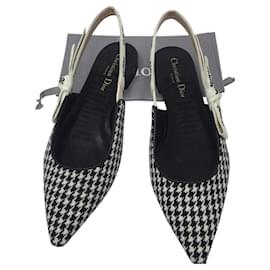 Dior-Ballerine DIOR J'ADIOR en laine pied de poule, ruban brodé-Noir,Blanc