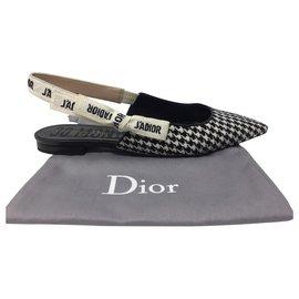 Dior-DIOR J'ADIOR MONTAIGNE Ballerine plate en laine pied de poule, ruban brodé-Noir,Blanc