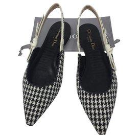 Dior-DIOR J'ADIOR WOOL HOUNDSTOOTH BALLERINA FLAT-Black,White