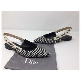 Dior-DIOR J'ADIOR LAINE HOUNDSTOOTH BALLERINE PLAT MONTAIGNE NOUVEAU-Noir,Blanc
