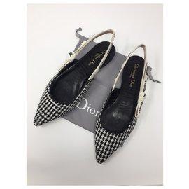 Dior-DIOR J'ADIOR WOOL HOUNDSTOOTH BALLERINA FLAT MONTAIGNE NEW-Black,White
