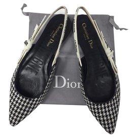 Dior-DIOR BALLERINE J'ADIOR EN LAINE PIED DE POULE NEUF MONTAIGNE-Noir,Blanc