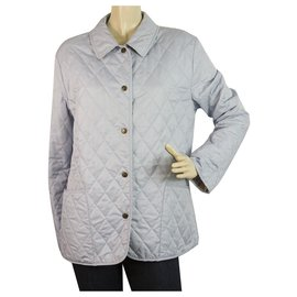 Burberry-Burberry London Light BLue Checked Lining Single Brusted Quilted Lightweight Jacket-Light blue