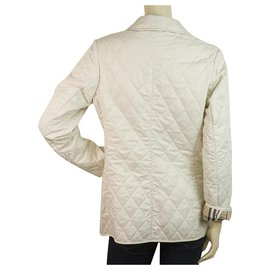 Burberry-Burberry London Ecru Checked Lining Single Brusted Quilted Lightweight Jacket-Cream