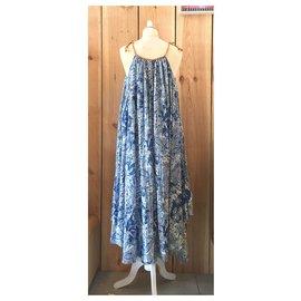 Free People-robe longue imprimée-Bleu