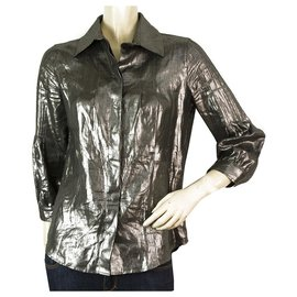 Christian Dior-Christian Dior Boutique Chemise boutonnée boutonnée en lin gris anthracite Sz 36-Gris anthracite
