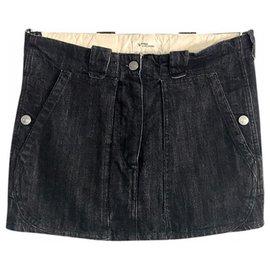 Isabel Marant Etoile-mini jupe black denim-Noir