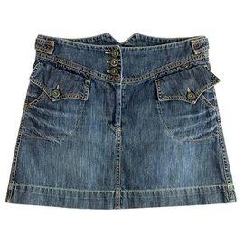 Isabel Marant Etoile-mini jupe blue denim-Bleu