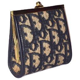 Christian Dior-CHRISTIAN DIOR Oblique logo wallet-Blue,Cream
