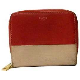 Céline-CELINE compact zipped wallet-Red,Beige