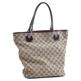 Gucci-Gucci Sherry Line GG Tote Bag-Brown