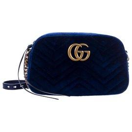 Gucci-Sac à bandoulière en velours GG Marmont-Bleu