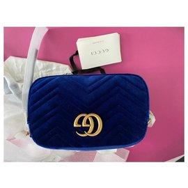 Gucci-Velvet GG Marmont Shoulder Bag-Blue