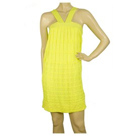 M Missoni-M Missoni Bright Yellow knitted Sleeveless mini above knee dress IT size 40-Yellow