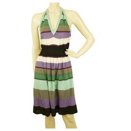 M Missoni-M Missoni Multicolore Halter Neck Rayé longueur genou robe ceinturée Taille 44-Multicolore